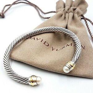 David Yurman 5mm Pearls & Gold Bracelet